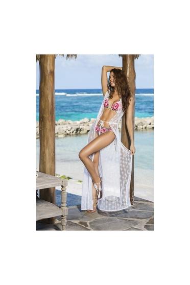 Rochie de plaja cu model in relief Cosita Linda alba din material vaporos
