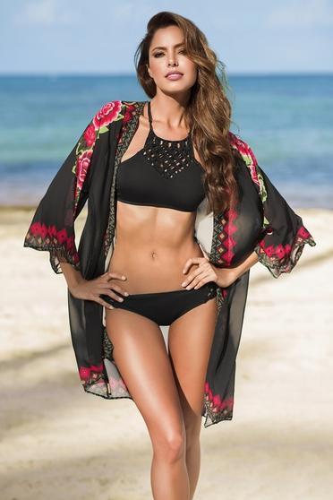 Rochie de plaja cu croi larg Cosita Linda neagra cu imprimeuri florale