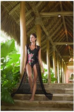 Rochie de plaja lunga Cosita Linda neagra cu croi larg