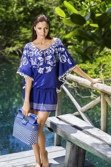 Rochie de plaja din material vaporos Cosita Linda albastra cu ciucuri