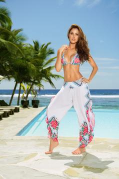 Pantaloni de plaja cu croi larg Cosita Linda albi din material vaporos