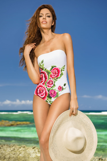 Costum de baie intreg Cosita Linda alb cu imprimeuri florale