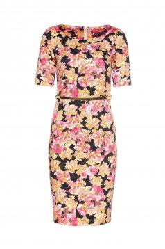 Rochie tip creion cu accesoriu tip curea PrettyGirl roz deschis cu imprimeuri florale
