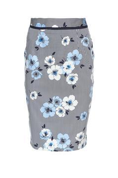 Fusta midi din bumbac Fofy albastra cu imprimeu floral