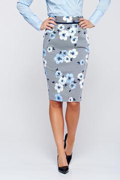 Fusta Fofy albastra midi din bumbac cu imprimeu floral