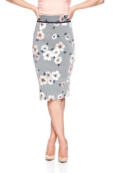 Fusta midi din bumbac Fofy piersica cu imprimeu floral