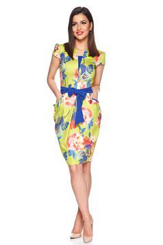 Rochie midi cu imprimeu floral Fofy albastra accesorizata cu cordon