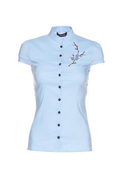 Camasa dama Fofy albastra-deschis cu maneca scurta cu insertii de broderie