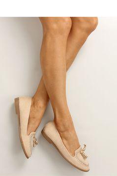 Pantofi cu talpa joasa crem cu ciucuri