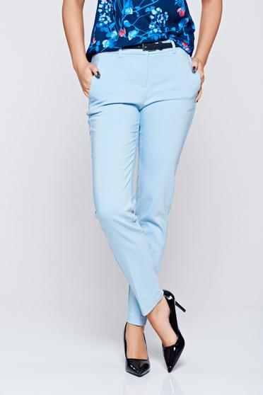 Pantaloni Top Secret albastri conici cu talie medie din bumbac