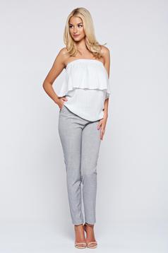 Pantaloni Top Secret gri conici cu talie medie cu buzunare