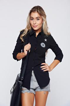 Camasa dama Top Secret neagra din bumbac elastic cu maneca lunga