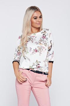 Bluza dama eleganta cu croi larg Top Secret alba cu imprimeu floral
