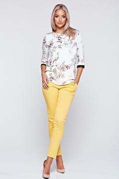 Bluza dama Top Secret alba eleganta cu croi larg cu imprimeu floral
