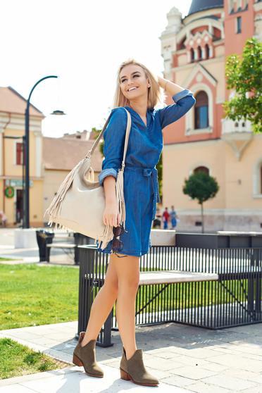 Rochie casual Top Secret albastra cu decolteu