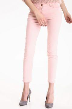 Pantaloni conici cu talie joasa Top Secret rosa cu buzunare