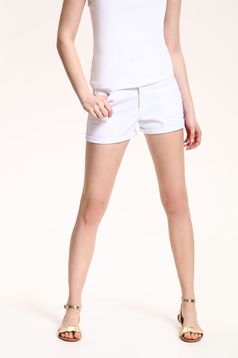 Pantalon scurt casual cu talie medie Top Secret alb cu buzunare