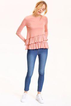 Bluza dama cu maneca lunga Top Secret roz cu volanas in talie
