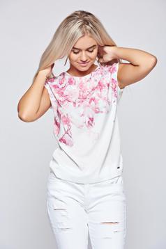 Tricou Top Secret alb din material vaporos cu imprimeuri florale