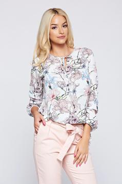 Bluza dama Top Secret alba cu croi larg din material vaporos cu imprimeuri florale
