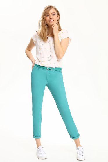 Pantaloni conici Top Secret turcoaz cu buzunare