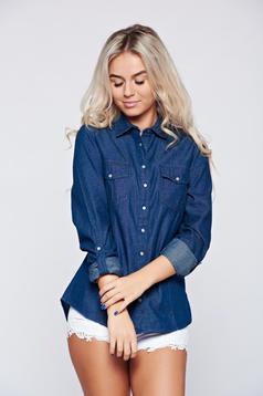Camasa dama Top Secret albastru-inchis cu maneca lunga din denim