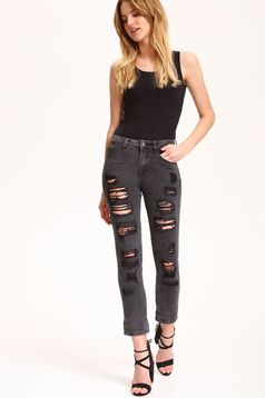 Pantaloni casual din denim Top Secret gri inchis cu rupturi
