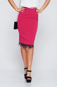 Fusta Top Secret roz-inchis eleganta cu talie medie