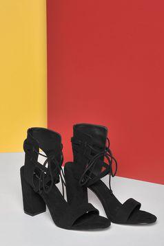 Pantofi cu toc patrat Top Secret negru cu snur