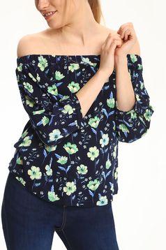 Bluza dama Top Secret albastru-inchis cu umeri goi cu imprimeuri florale