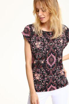 Tricou cu maneca scurta Top Secret negru cu imprimeuri florale