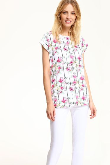 Tricou cu croi larg cu maneca scurta Top Secret alb cu imprimeuri florale