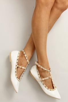 Pantofi cu tinte metalice alb cu varful usor ascutit