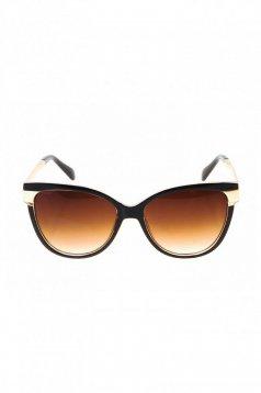 Ochelari de soare cu lentile cat-eye negru cu rama din plastic