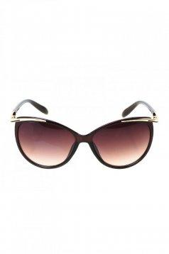 Ochelari de soare cu lentile cat-eye negru cu accesoriu metalic