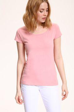 Tricou basic din bumbac Top Secret roz cu maneca scurta