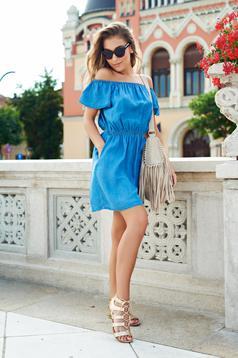 Rochie casual cu umeri goi Top Secret albastra cu maneca scurta