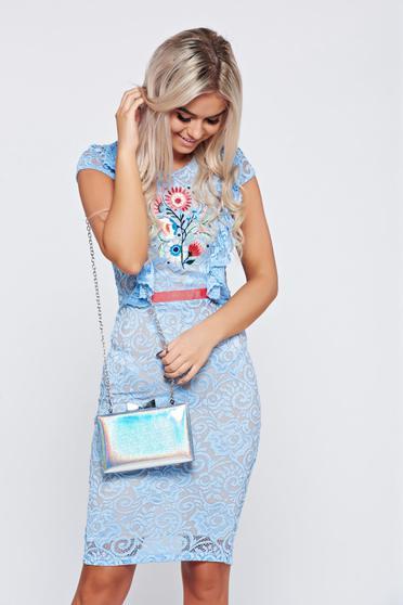 Rochie de ocazie brodata StarShinerS albastra din material dantelat