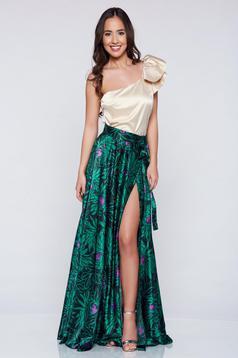 Fusta eleganta lunga PrettyGirl verde din material satinat