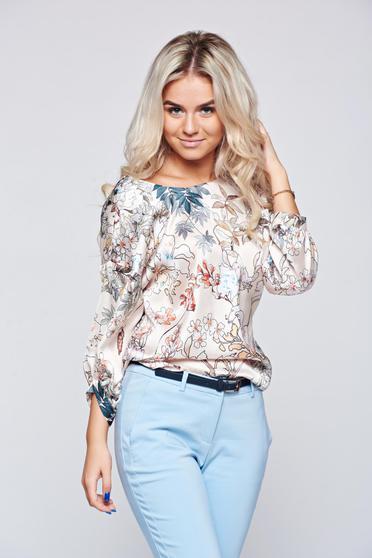 Bluza dama Top Secret piersica cu croi larg cu maneci trei-sferturi