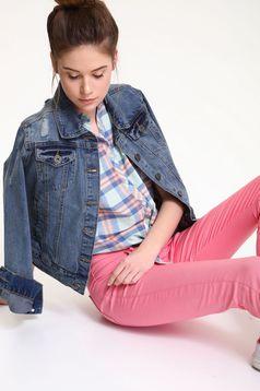 Pantaloni conici cu talie joasa Top Secret roz cu buzunare