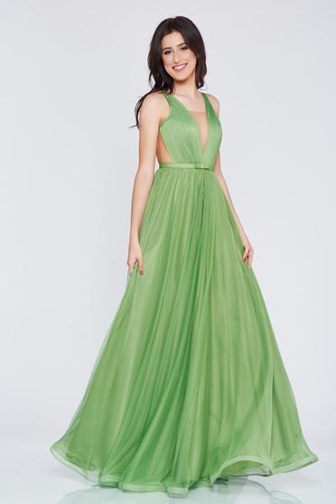Rochie Ana Radu verde-inchis de lux din tul captusita pe interior cu decolteu in v