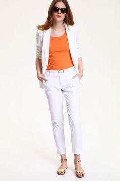Pantaloni conici Top Secret albe cu buzunare