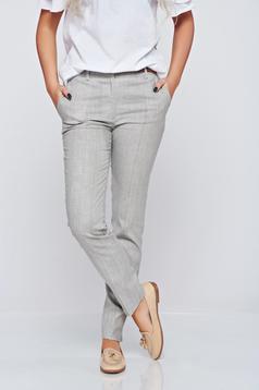 Pantaloni Top Secret gri office cu talie medie