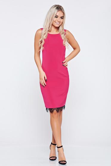 Rochie Top Secret roz eleganta midi fara maneci