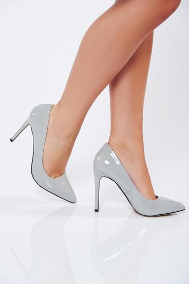Pantofi stiletto Top Secret gri-deschis eleganti cu toc inalt din piele ecologica