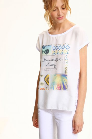 Bluza dama casual cu croi larg Top Secret alba cu print