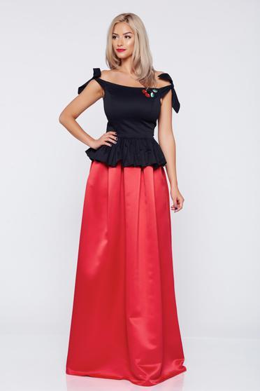 Fusta eleganta lunga Fofy rosie in clos