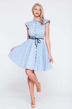 Rochie casual in clos Fofy albastru-inchis cu volanase la maneca