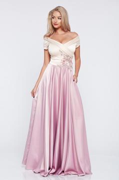 Rochie de ocazie brodata LaDonna rosa din material satinat